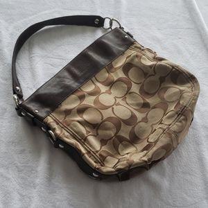 Coach leather and signature canvas hobo handbag